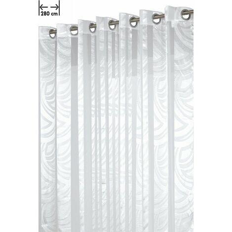 Voilage Grande Largeur 280 x 240 cm à Oeillets Brillant Contemporain Blanc Blanc - Blanc