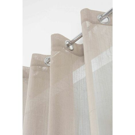 Voilage Grande Largeur 280 x 260 cm à Fines Rayures Verticales Style Rustique Chic Argile Gris