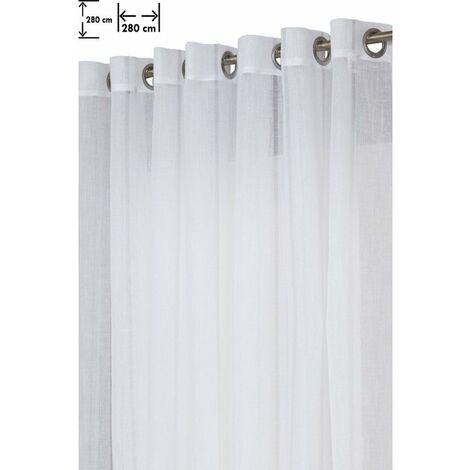 Voilage Grande Largeur 280 x 280 cm en Effet Lin avec des Traits Discrets Blanc Blanc - Blanc