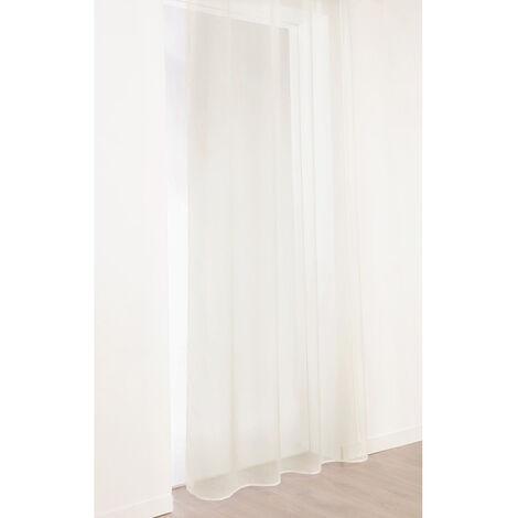 Voilage imitation lin à galon fronceur Blanc 300 x 260 cm - Blanc