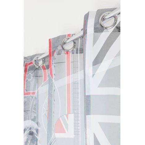 Voilage Imprimé 6 Oeillets 140 x 240 cm Photoprint Icônes Londoniennes Blanc, Noir, Rouge Gris