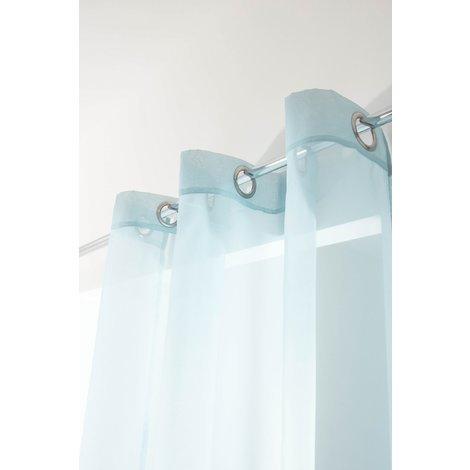 Voilage Simple Classique 6 Oeillets 140 x 240 cm Uni Bleu Ciel Bleu