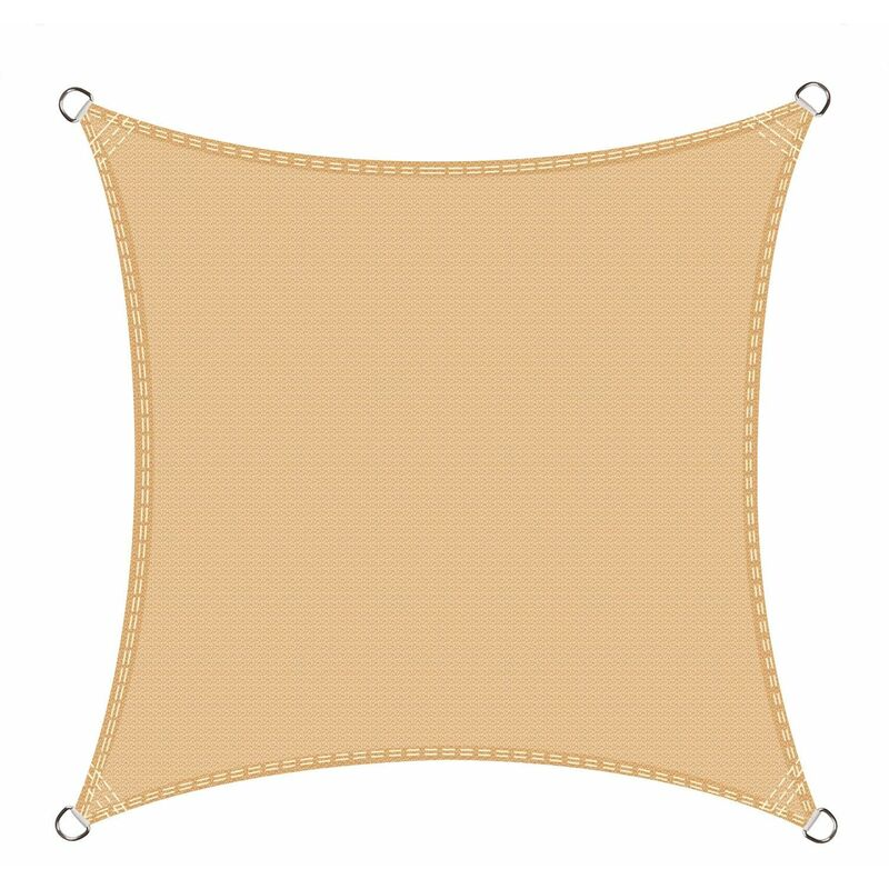 Voile d'ombrage carré 3 x 3 mètres Une Protection des Rayons UV, résistant et Respirant, Couleur Sable