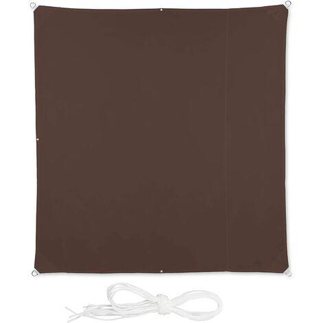 Voile d'ombrage carré 2 x 2 m brun