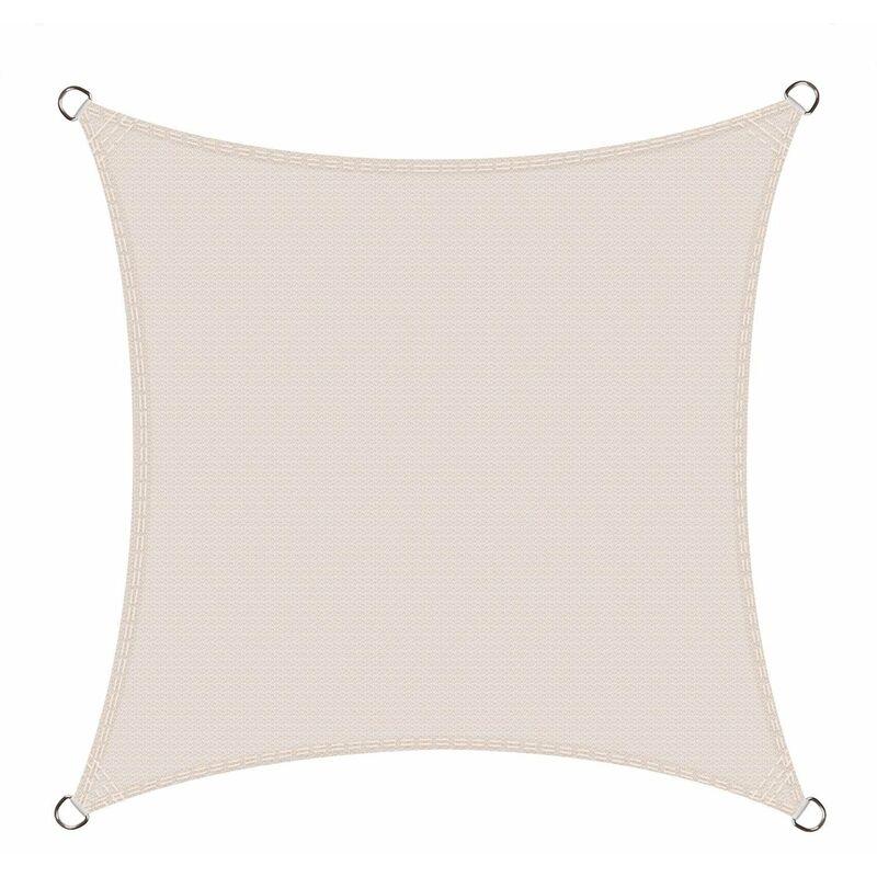 Voile d'ombrage carré 2.5 x 2.5 mètres Une Protection des Rayons UV, résistant et Respirant, Couleur Crème