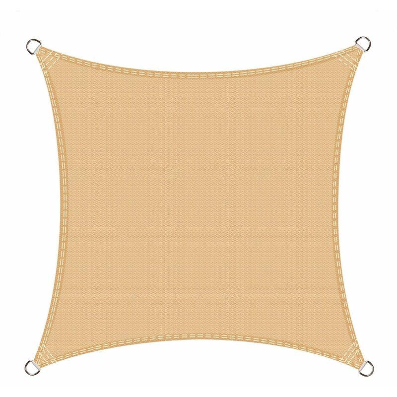 Voile d'ombrage carré 4 x 4 mètres Une Protection des Rayons UV, résistant et Respirant, Couleur Sable