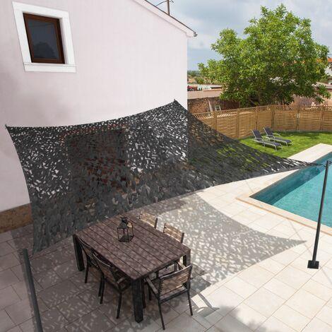 Voile d'ombrage carré design ombrière camouflage 3x3 m gris