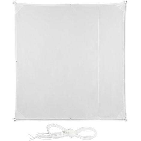 Voile d'ombrage carré diffuseur d'ombre protection soleil balcon jardin UV 2x2 m toile imperméable, blanc