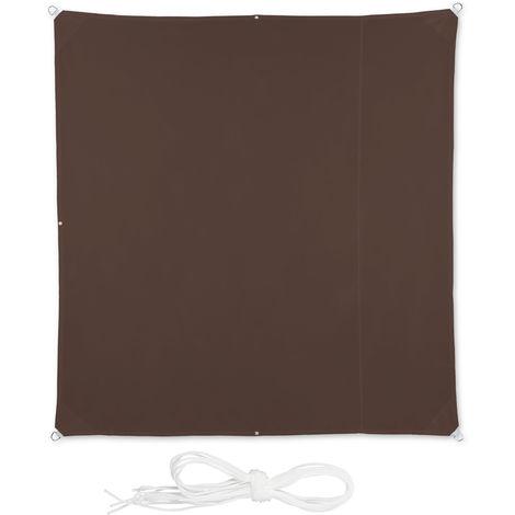 Voile d'ombrage carré diffuseur d'ombre protection soleil balcon jardin UV lxP 2x2 m toile imperméable, brun