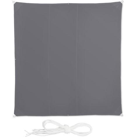 Voile d'ombrage carré diffuseur d'ombre protection soleil balcon jardin UV lxP; 4x4 m toile imperméable, gris
