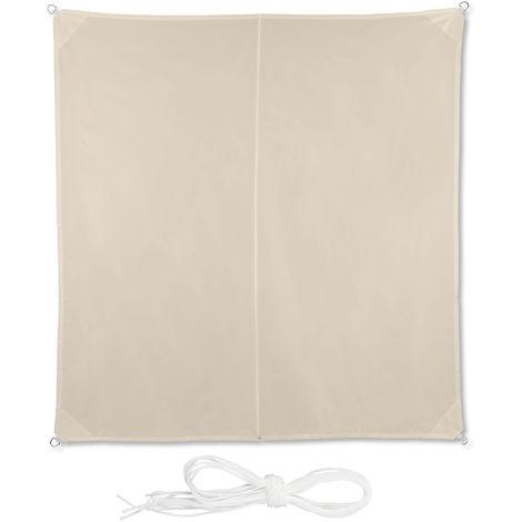 Voile d'ombrage carré diffuseur d'ombre protection soleil balcon jardin UV toile imperméable 3x3 m, beige
