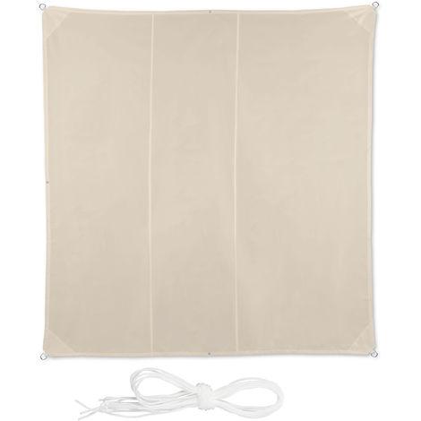 Voile d'ombrage carré diffuseur d'ombre protection soleil balcon jardin UV toile imperméable 4x4 m, beige