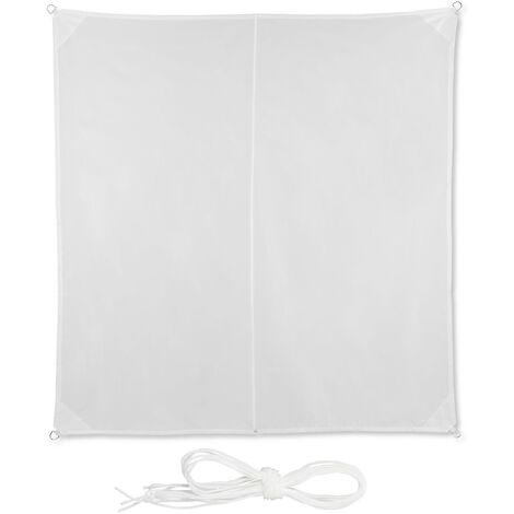 Voile d'ombrage carré diffuseur d'ombre protection soleil jardin UV 3 x 3 m toile, résistant à l'eau, blanc