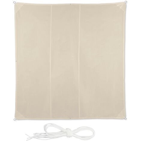 Voile d'ombrage carré diffuseur d'ombre protection soleil UV terrasse toile résistante à l'eau, 4 x 4 m, beige