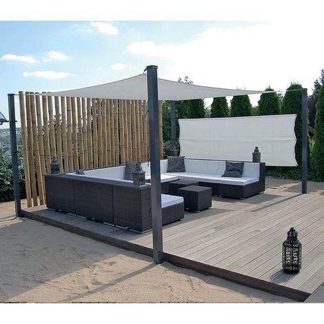 toile d 39 ombrage concave 5x4m perm able ivoire avec. Black Bedroom Furniture Sets. Home Design Ideas