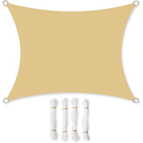 Voile d'ombrage en PES 2x3m/3x3m/3x4m/3.5x5m/4x6m/5x5m, pour Jardin, Résistante aux intempéries, Protection Solaire, Polyester, Gris/Blanc-crème/Anthracite