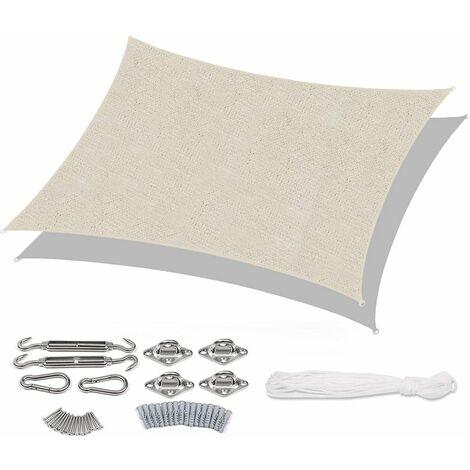 Voile d'ombrage HDPE Perméable Une Protection des Rayons UV avec Corde Libre et Kit de Montage