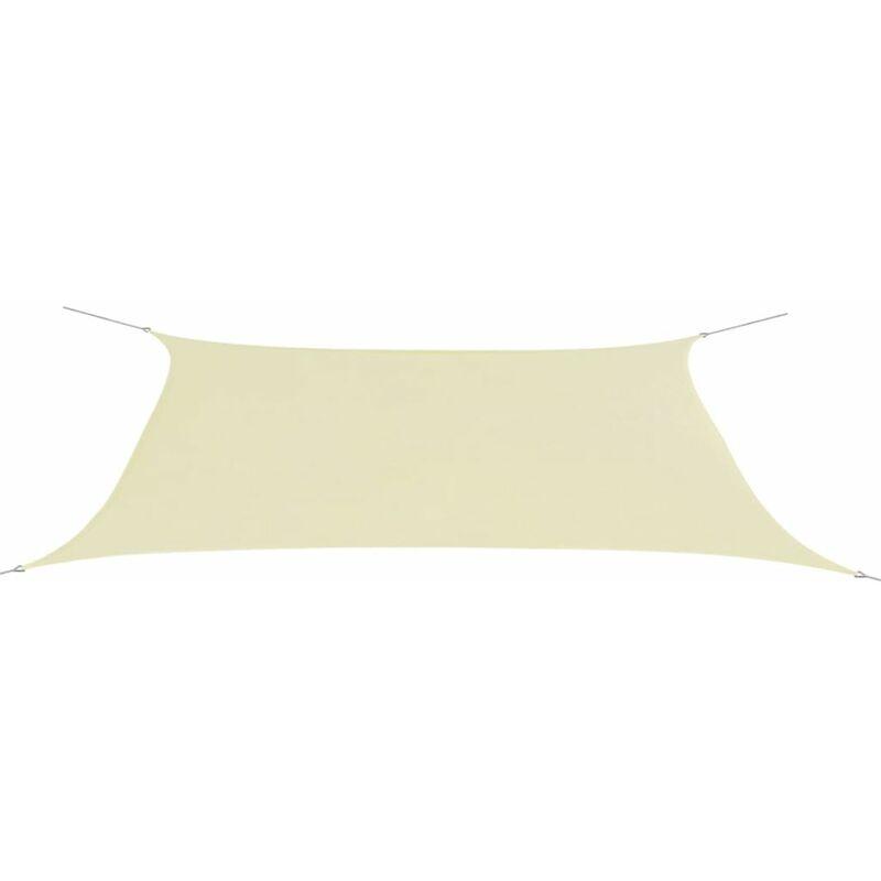 Voile d'ombrage Parasol en tissu Oxford rectangulaire creme 4x6 m