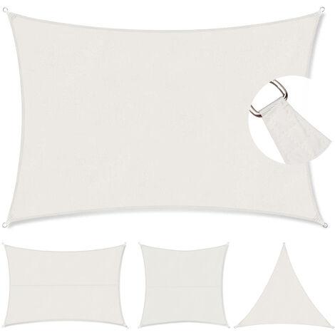 Voile d'ombrage PES avec Corde Libre 3×5m Blanc rectangulaire
