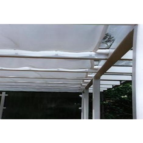 Voile d'ombrage pour pergola Blanc avec 34 crochets de guidage en polyester anti-UV - Dim : 420 x 140 cm