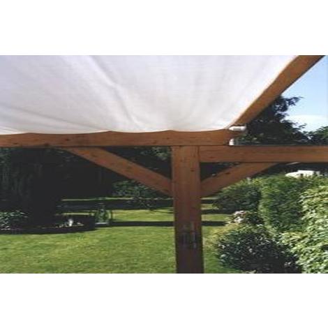 Voile d'ombrage pour pergola Gris Clair avec 34 crochets de guidage en polyester anti-UV - Dim : 420 x 140 cm