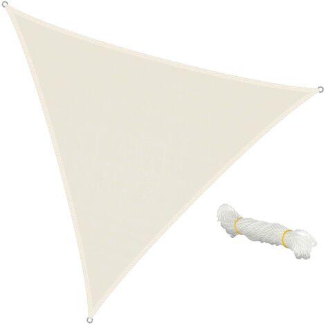 Voile d'ombrage protection anti UV solaire toile parasol triangle 5x5x5 m crème