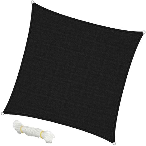 Voile d'ombrage protection solaire toile tendue carré 3,6x3,6 m anthracite HDPE
