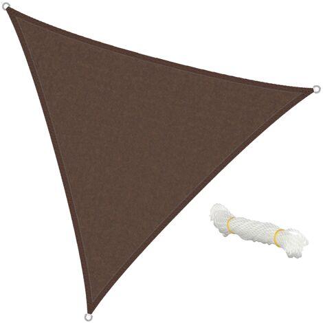 Voile d'ombrage protection UV solaire toile parasol triangle 3,6x3,6x3,6m marron