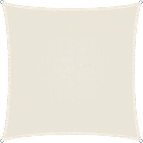 Voile d'ombrage protection UV solaire toile tendue parasol carré 3,6x3,6 m crème