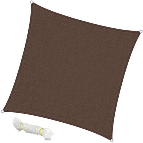 Voile d'ombrage protection UV solaire toile tendue parasol carré 3,6x3,6m marron