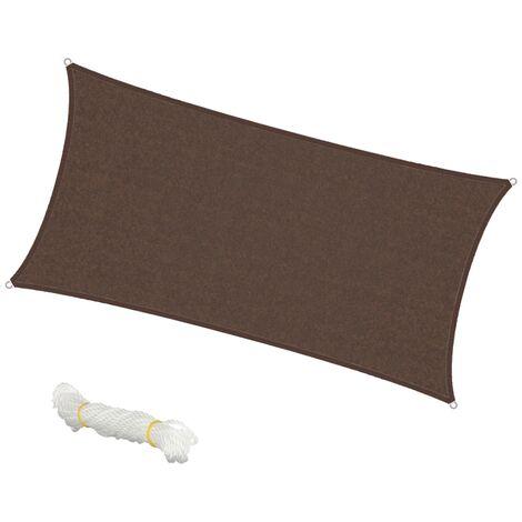 Voile d'ombrage protection UV solaire toile tendue parasol rectangle 2x4m marron