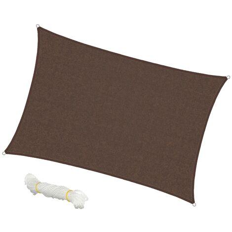 Voile d'ombrage protection UV solaire toile tendue parasol rectangle 4x6m marron