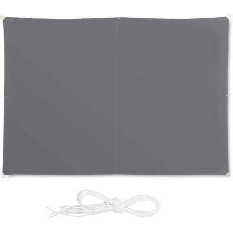 Voile d'ombrage rectangle 2 x 3 m gris - Gris