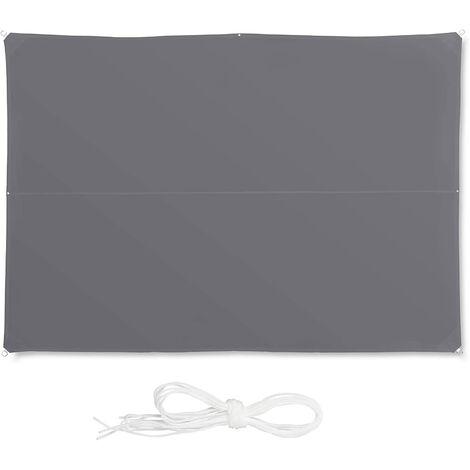 Voile d'ombrage rectangle 4 x 6 m gris - Gris
