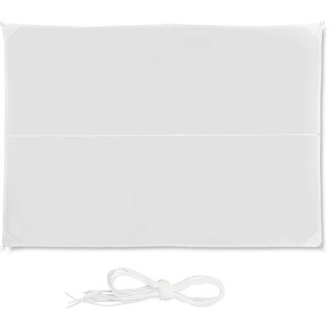 Voile d'ombrage rectangle diffuseur d'ombre protection soleil 3 x 4 m UV terrasse résistant à l'eau, blanc