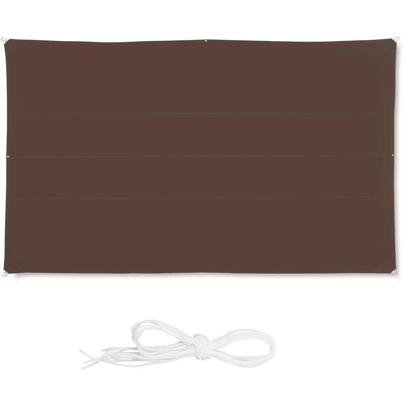 Voile d'ombrage rectangle diffuseur d'ombre protection soleil balcon jardin UV 4x6 m résistant à l'eau, marron
