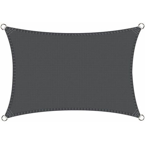 Voile d'ombrage rectangulaire 2,5 x 3 mètres Une Protection des Rayons UV, résistant et Respirant, Couleur Graphite