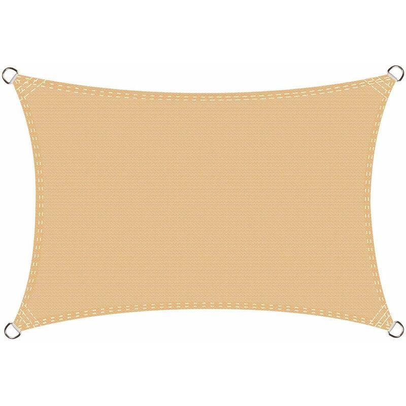 Voile d'ombrage rectangulaire 2.5 x 4 mètres Une Protection des Rayons UV, résistant et Respirant, Couleur Sable