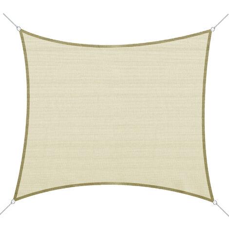 Voile d'ombrage rectangulaire 3 x 4 m polyéthylène haute densité résistant aux UV coloris crème