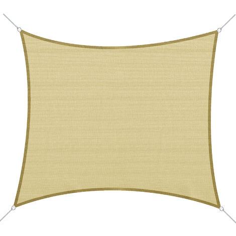 Voile d'ombrage rectangulaire 3 x 4 m polyéthylène haute densité résistant aux UV coloris sable