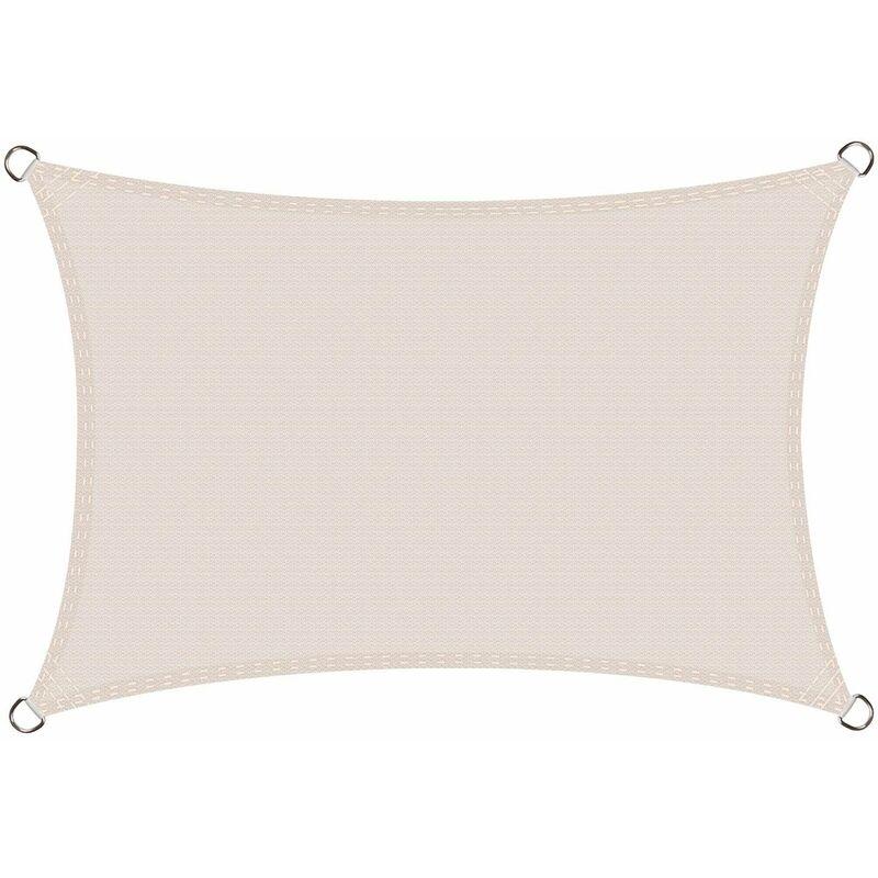 Voile d'ombrage Rectangulaire 4 x 6 mètres Une Protection des Rayons UV, Résistant et réspirant, Couleur Crème
