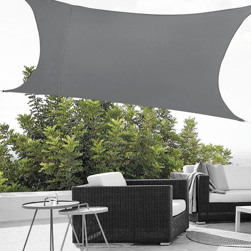 [en.casa] - Voile d'Ombrage Toile d'Ombrage Toile de Protection Polyester Polyuréthane Quadrilatéral Gris Foncé 3x5 m