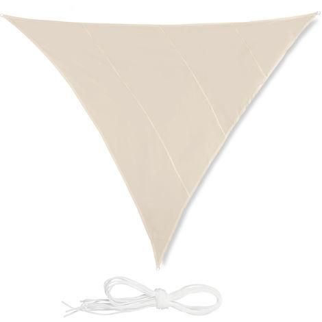 Voile d'ombrage triangle diffuseur d'ombre protection soleil balcon jardin UV 5x5x5 m toile imperméable, beige