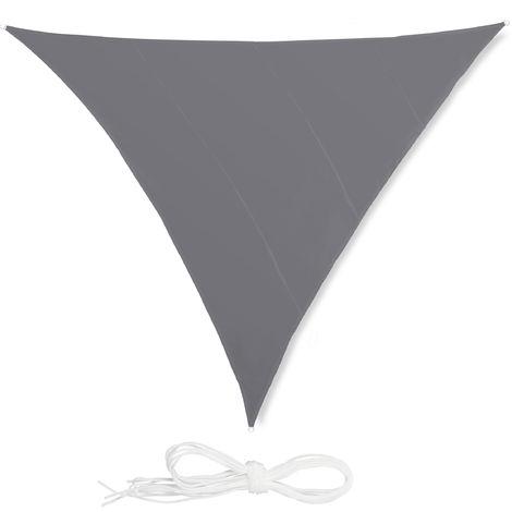 Voile d'ombrage triangle diffuseur d'ombre protection soleil balcon jardin UV 5x5x5 m toile imperméable, gris