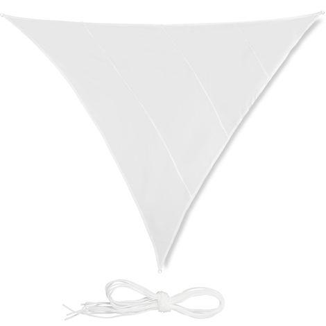 Voile d'ombrage triangle diffuseur ombre protection soleil balcon jardin UV 5x5x5 m toile imperméable, blanc