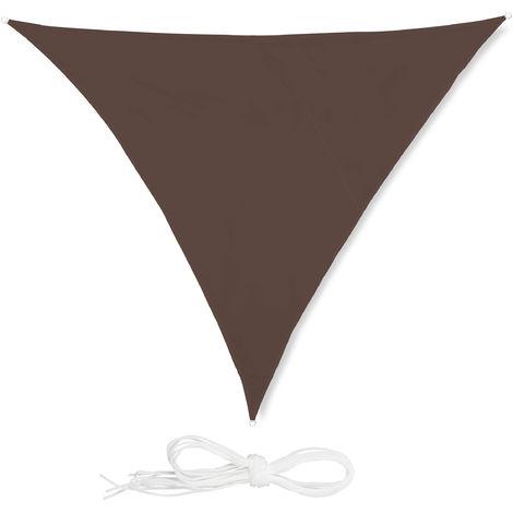 Voile d'ombrage triangle diffuseur ombre protection soleil balcon jardin UV toile imperméable 4x4x4 m, marron