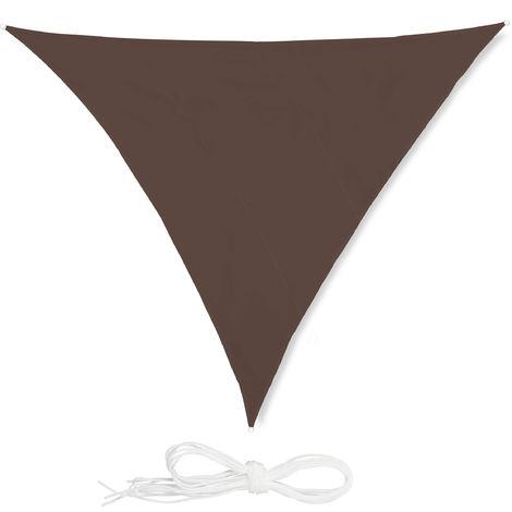 Voile d'ombrage triangle diffuseur ombre protection soleil balcon jardin UV toile imperméable 5x5x5 m, marron