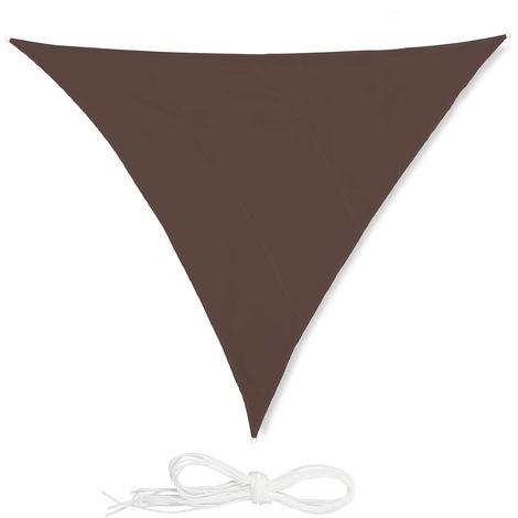 Voile d'ombrage triangle diffuseur ombre protection soleil balcon jardin UV toile imperméable 6x6x6 m, marron