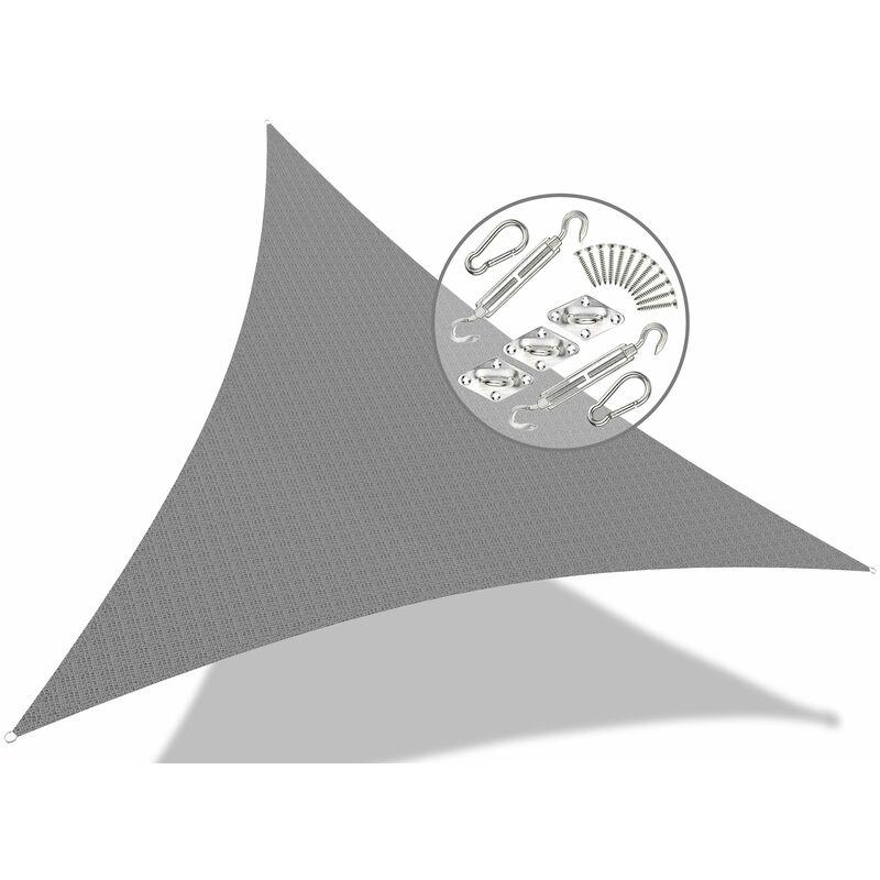 Voile d'ombrage Triangle Gris 3x3x3M avec Kit de montage - VOUNOT