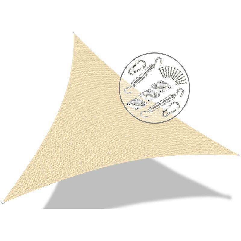 Voile d'ombrage Triangle Ivoire 5x5x5M avec Kit de montage - VOUNOT
